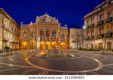Catania - Theater - Teatro Massimo Bellini at dusk. Foto stock ©