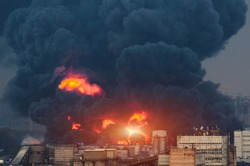 Catastrophe gas explosion on the gas pipeline fire and black smoke