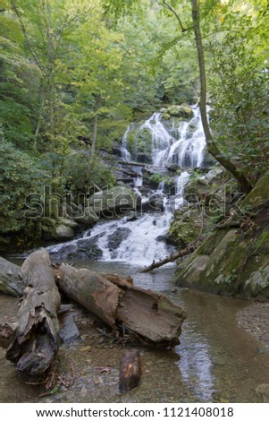 Catawba Falls, one of Western North Carolina's scenic Blue Ridge Mountains waterfalls, cascades over 100 ft onto rocks and logs and can be found at the end of a popular hiking trail in Old Fort, NC #1121408018