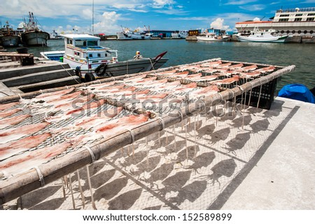 Catch ashore just use the sun to dried seafood