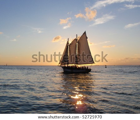 catch yacht sailing towards summers sunset