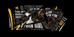 Catching ball. Close-up sportive man, professional baseball player in motion and action with glove isolated on dark background with lettering, graphics and motivating quotes. Collage