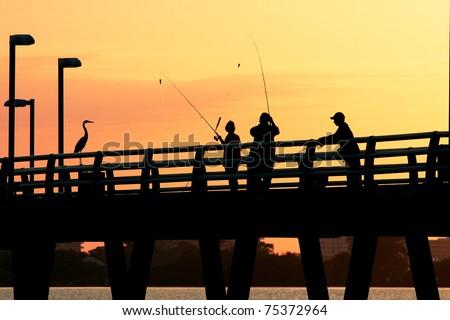Catching Fish at Sunset,Sarasota,Florida
