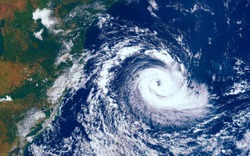 Category 5 super typhoon approaching the coast. The eye of the hurricane. View from outer space  Some elements of this image furnished by NASA