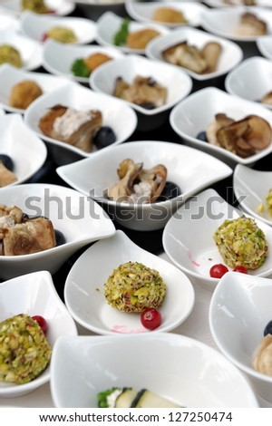 Catering, a lot of cold snacks on buffet table