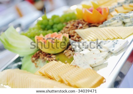 catering buffet food outdoor in luxury restaurant with meat and colorful fruits catering buffet food outdoor in luxury restaurant with meat and colorful fruits
