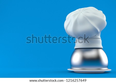 Catering dome with chef s hat isolated on blue background. 3d illustration 85bb904a828d