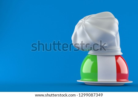 Catering dome with italian flag isolated on blue background. 3d illustration f085b2427ae8