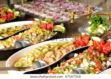 stock photo Catering food at a wedding party a series of RESTAURANT