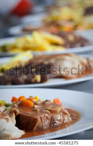 Catering food at restaurant kitchen