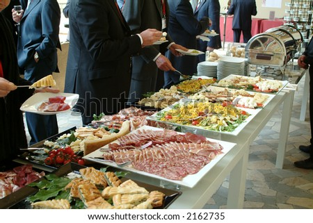 Catering food - buffet with businessmen