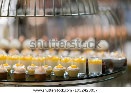 catering food, dessert and sweet, mini canapes, snacks and appetizers, food for the event, sweetmeat Photo stock ©