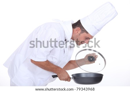 Catering professional on white background