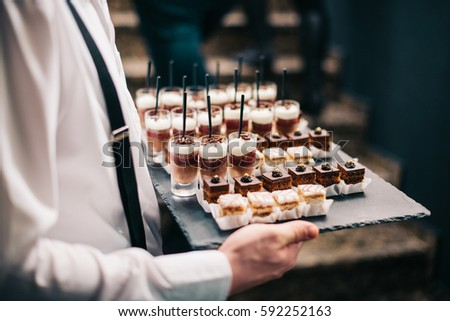 Catering Service Chocolate Mousse Sweets Finger Bites Dessert Plate Food Buffet Slate Tray #592252163