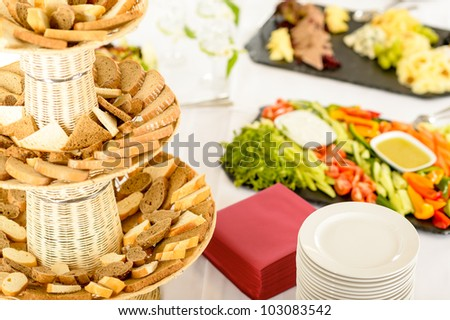 Catering service food buffet selection on white tablecloth