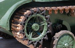 Caterpillar military tank rusty wheel or sprocket excavator