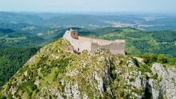 Cathar castle of Montségur. castle in France