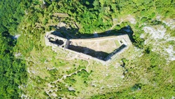 Cathar castle of Montségur from above. castle in France