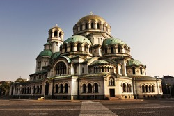 Cathedral Alexander Nevski in capital city Sofia in Bulgaria at the sunset