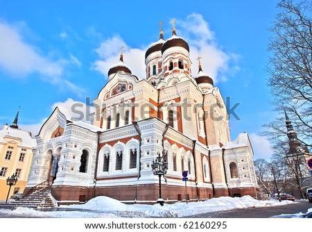 Cathedral Alexander Nevsky in Tallinn in winter day