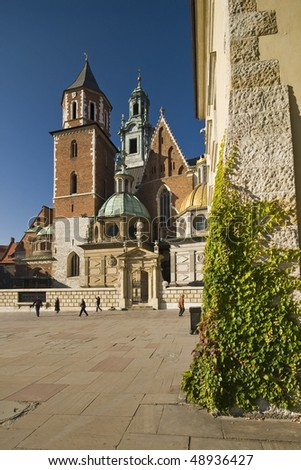 Cathedral and castle Wawel in Krakow on a beautiful day