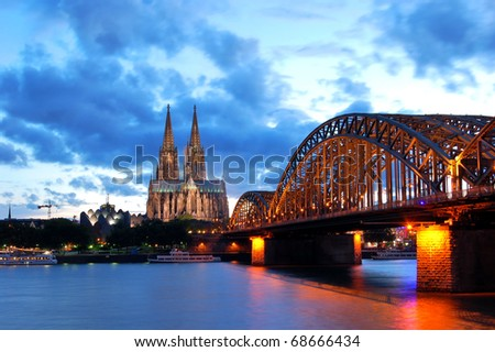 Cathedral and Hohenzollern Bridge -  Cologne/Köln, Germany - stock photo
