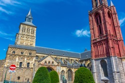 Cathedral and red belltower of Maastricht, Netherlands
