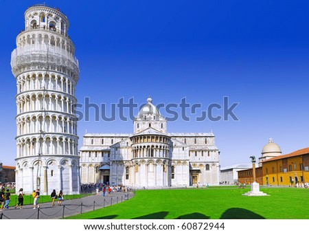 Cathedral, Baptistery and Tower of Pisa in Miracle square