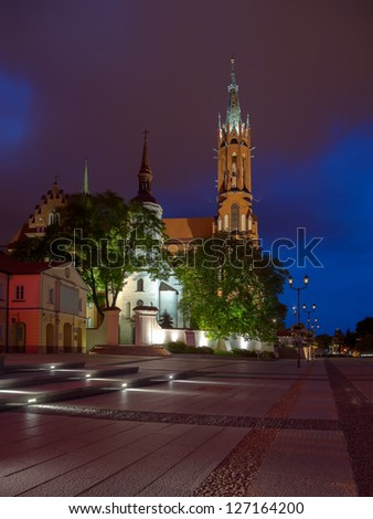 Cathedral Basilica at Night in Bialystok, Poland.