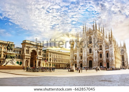 Cathedral Duomo di Milano and Vittorio Emanuele gallery in Square Piazza Duomo at sunny morning, Milan, Italy.