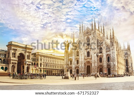 Cathedral Duomo di Milano and Vittorio Emanuele gallery in Square Piazza Duomo at sunny morning, Milan, Italy. #671752327