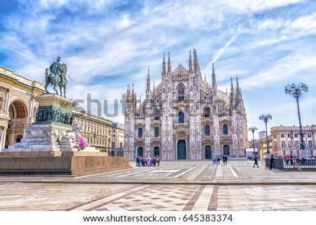 Cathedral Duomo di Milano in Square Piazza Duomo at sunny morning, Milan, Italy.