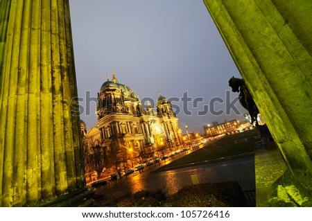Cathedral in Berlin, Germany, Long exposure night time shot.