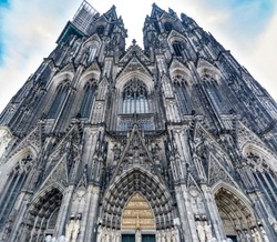 Cathedral in Cologne, North Rhine-Westphalia,  Germany,. gothic style, tallest twin-spired church in the world, west portal and facade