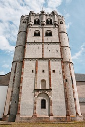Cathedral in Münstermaifeld, district of Mayen-Koblenz, Rhineland-Palatinate, Germany.  Medieval collegiate church St. Martin and St. Severus of the late romanesque, early gothic period.