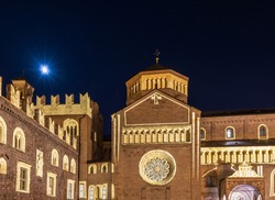 Cathedral  in main square of old town with christmas light - Trento, Trentino Alto Adige, northern Italy.