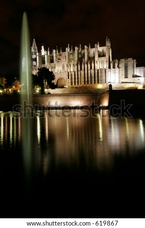 Cathedral in Palma de Mallorca, Spain, nightshot
