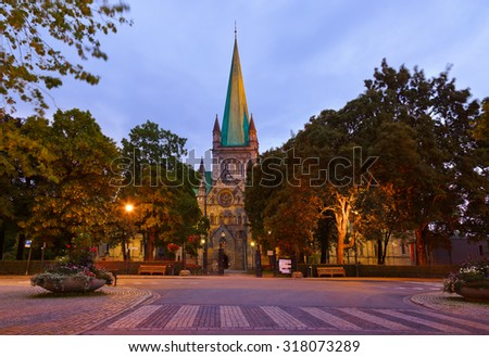 Cathedral in Trondheim Norway at sunset - architecture background