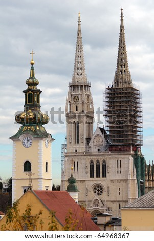 Cathedral in Zagreb - stock photo