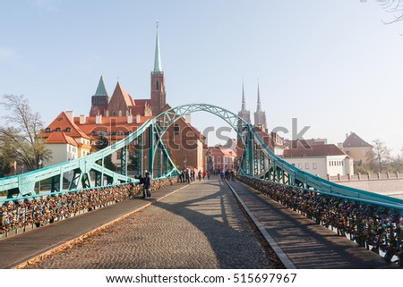 Cathedral Island in the morning, Gorgeous picture and picturesque scene. Location in Wroclaw, Poland, Europe. Historical capital of Silesia. Beauty world.