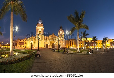 Cathedral main church of Lima, Peru - stock photo