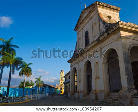 Cathedral near the central square in the colonial town of Trinidad in Cuba, a famous touristic landmark on the caribbean island