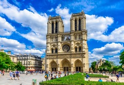 Cathedral Notre Dame de Paris in Paris, France. Architecture and landmarks of Paris. Postcard of Paris