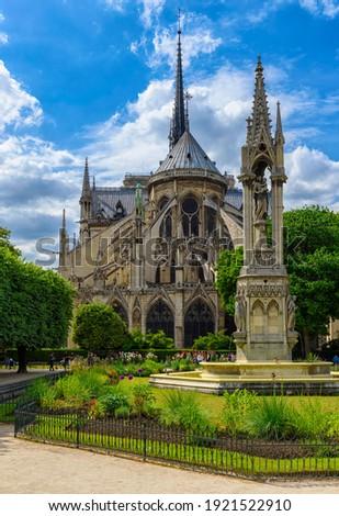 Cathedral Notre Dame de Paris in Paris, France.  Architecture and landmarks of Paris. Postcard of Paris