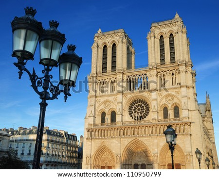 "Cathedral ""Notre Dame de Paris"" on Cite island in Paris, France."