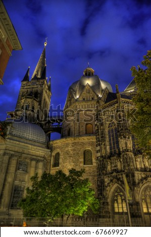 cathedral of aachen, germany by night (hdr)