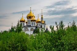 Cathedral of Assumption of Blessed Virgin Mary is an Orthodox church. Temple is located in ancient Russian fortress of Kremlin of XII century in city of Dmitrov, Moscow region, Russia.