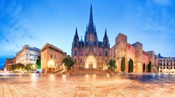 Cathedral of Barcelona, Gothic city at night, panorama.