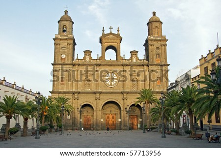 Cathedral of Canary Islands, Plaza de Santa Ana in Las Palmas de Gran Canaria - stock photo