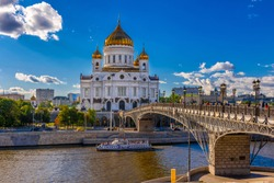 Cathedral of Christ the Savior and Moscow river in Moscow, Russia. Architecture and landmark of Moscow